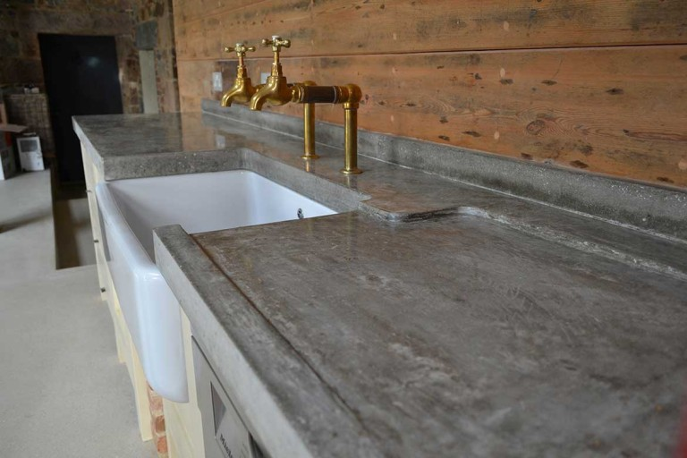 Polished Concrete Worktop &  Bespoke Brass Taps