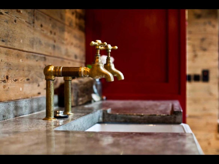 Concrete Worktop & Bespoke Brass Taps