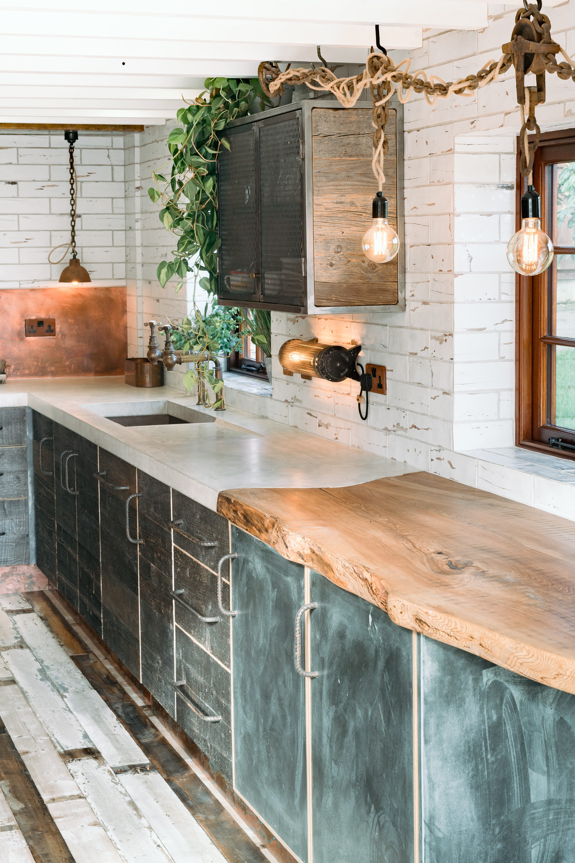 Concrete and Wooden Worktop