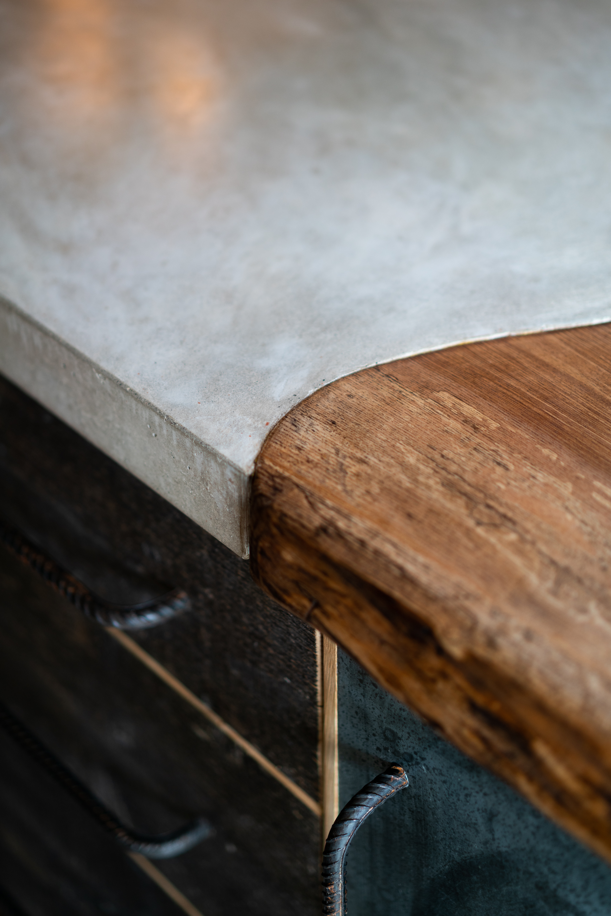 Polished Concrete and Wood Worktop Detail